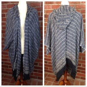 Free People Hooded Poncho Cape Cardigan
